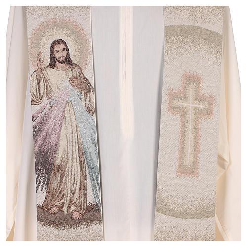Étole Christ Miséricordieux croix dégradé pêche-ivoire 2