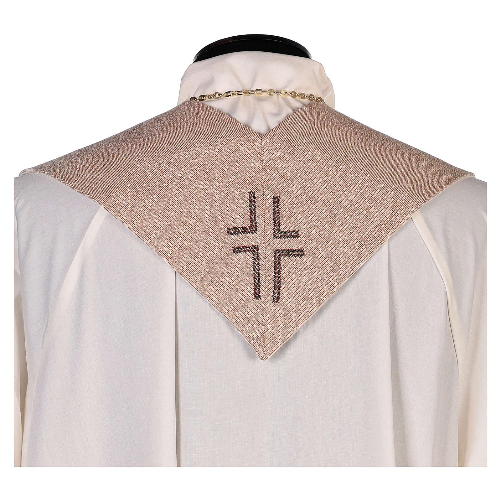 Stola Gesù Misericordioso croce sfumature pesca avorio 4