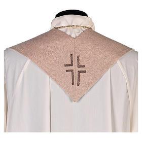 Stola Gesù Misericordioso croce sfumature pesca avorio s3