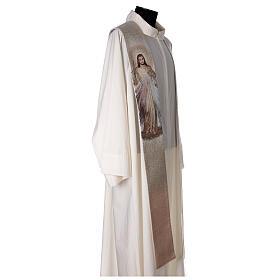 Stola Gesù Misericordioso croce sfumature pesca avorio s4