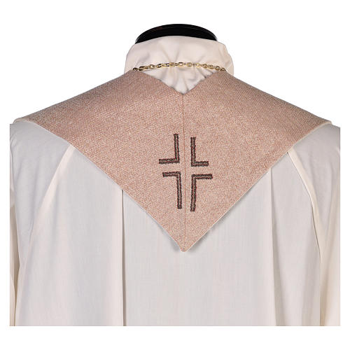 Stola Gesù Misericordioso croce sfumature pesca avorio 3