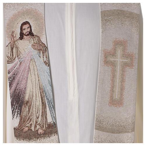 Stola Gesù Misericordioso croce sfumature pesca avorio 2