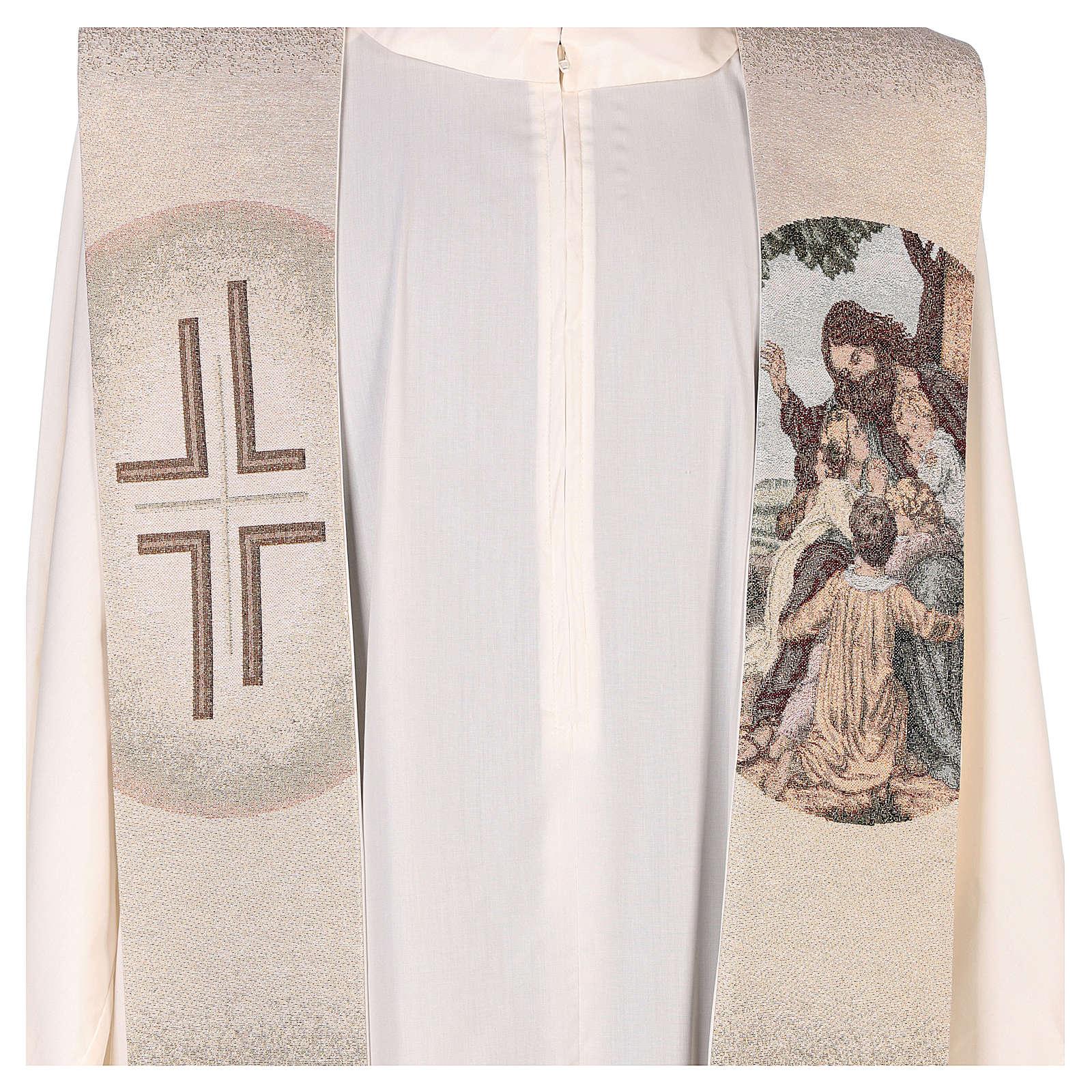 Étole avec broderie Jésus et les enfants couleur ivoire 4