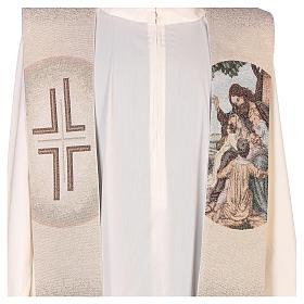 Stola con ricamo Gesù e i pargoli avorio s2