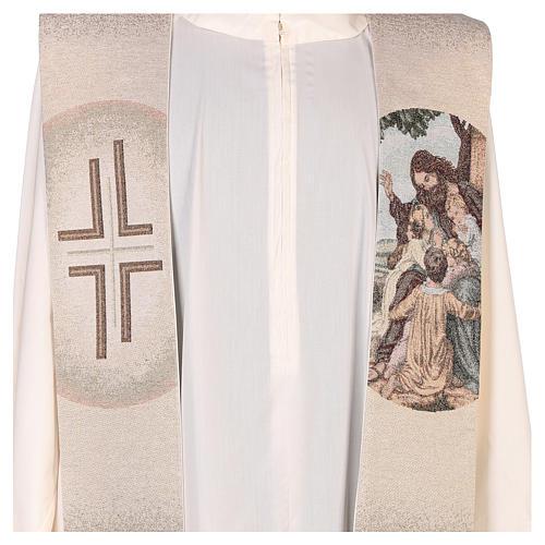 Stola con ricamo Gesù e i pargoli avorio 2