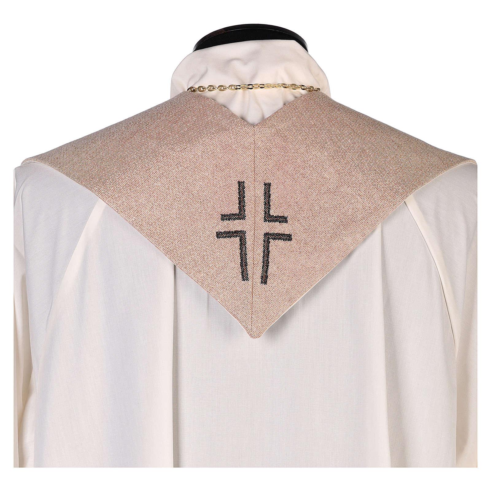 Estola Sagrada Familia bordado tejido marfil 4