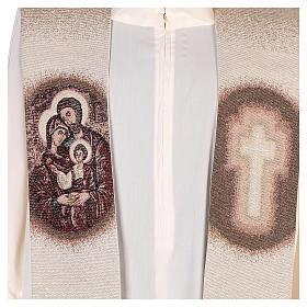 Étole Sainte Famille brodée sur tissu couleur ivoire s2