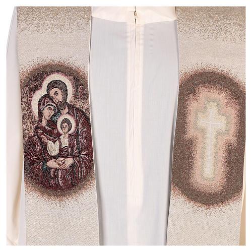 Étole Sainte Famille brodée sur tissu couleur ivoire 2