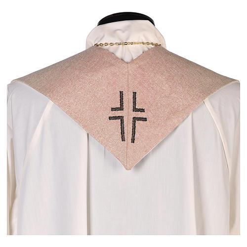 Étole Sainte Famille brodée sur tissu couleur ivoire 3