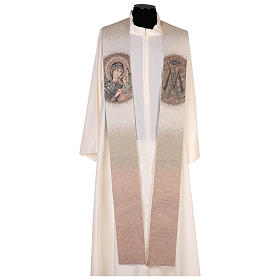 Étole Notre-Dame du Perpétuel Secours symbole marial beige s1