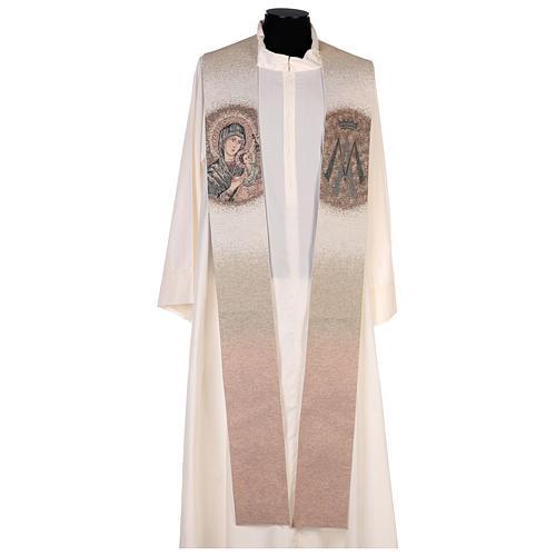 Étole Notre-Dame du Perpétuel Secours symbole marial beige 1