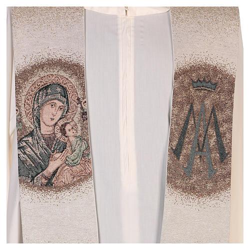 Étole Notre-Dame du Perpétuel Secours symbole marial beige 2