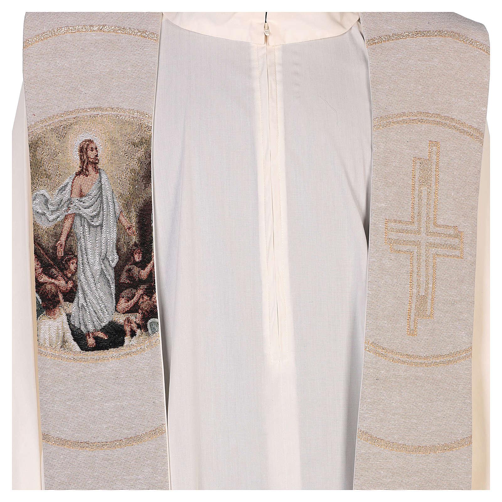 Étole scène Résurrection et croix beige 4