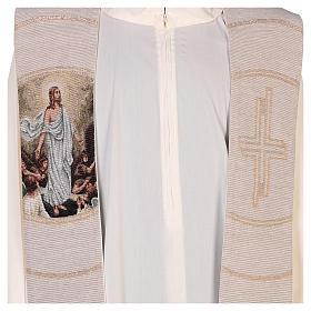 Étole scène Résurrection et croix beige s2