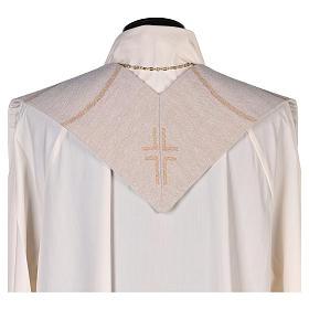 Étole scène Résurrection et croix beige s3