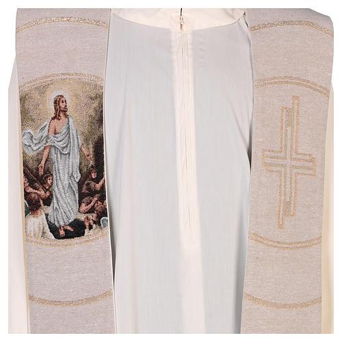 Étole scène Résurrection et croix beige 2