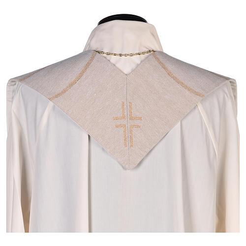 Étole scène Résurrection et croix beige 3