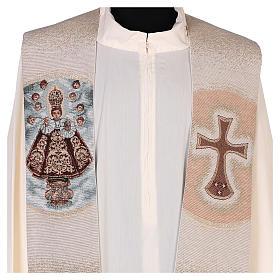 Estola bordada Santo Niño de Praga marfil s2