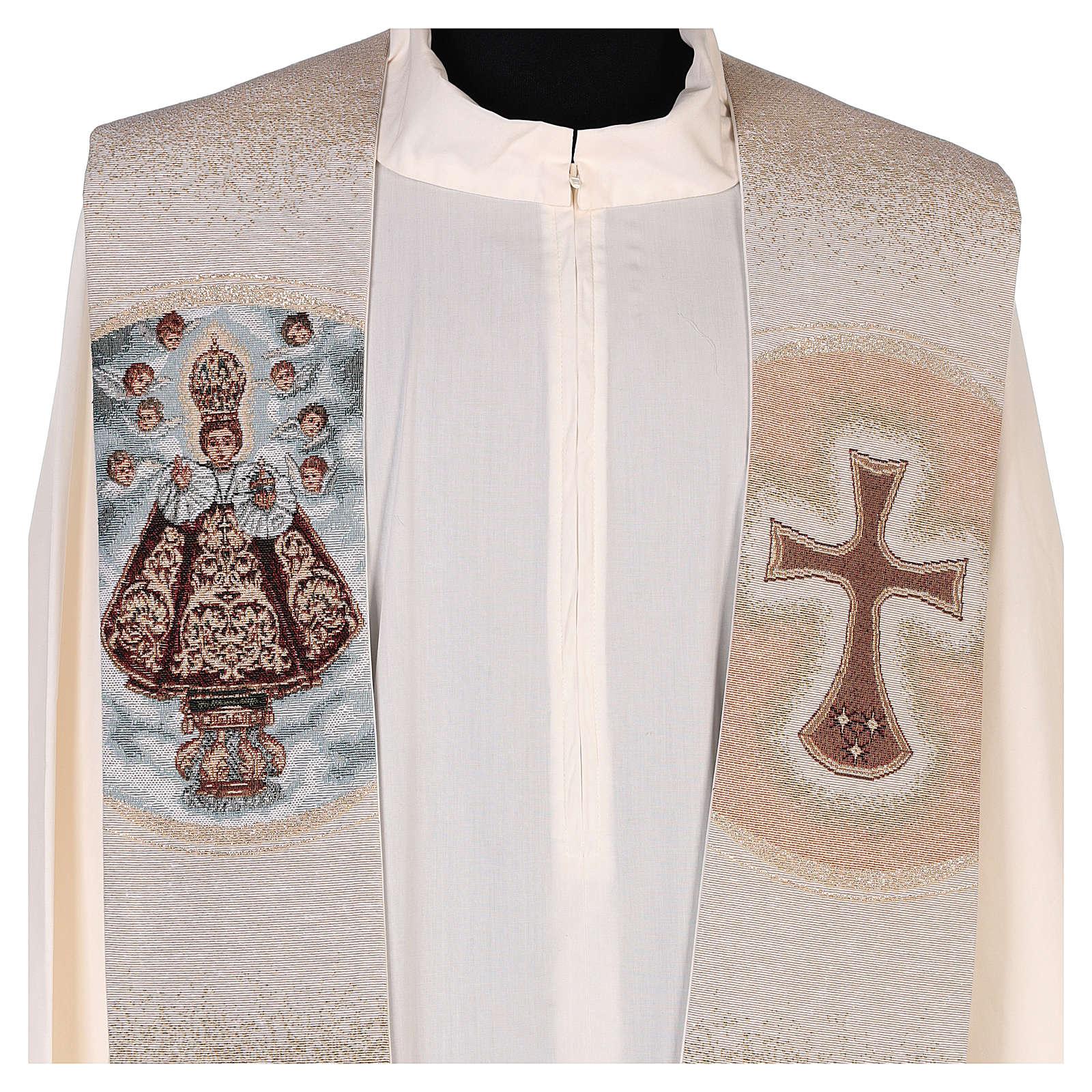 Stola ricamata Santo Bambino di Praga avorio 4