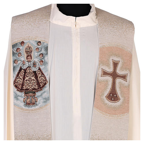 Stola ricamata Santo Bambino di Praga avorio 2