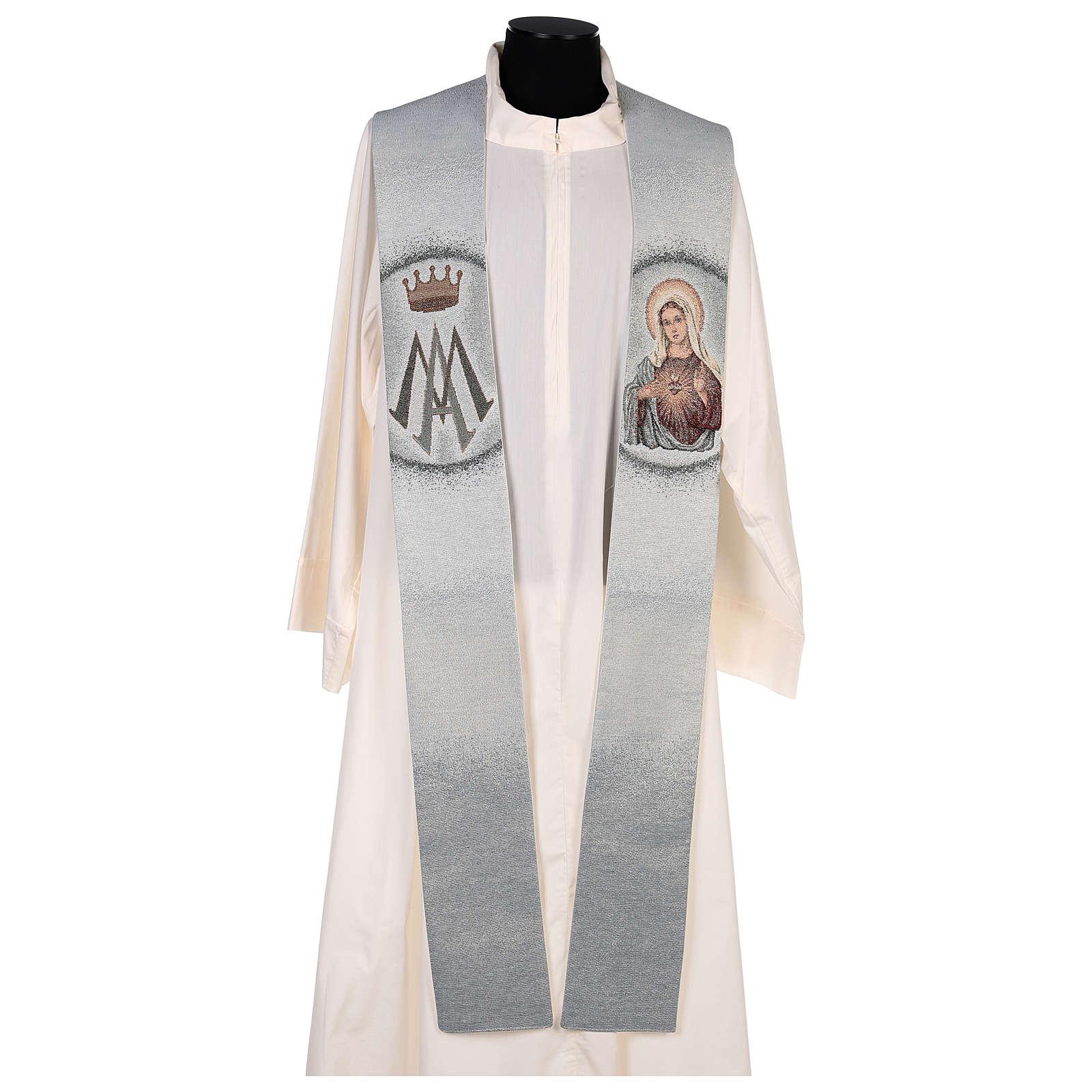 Estola Sagrado Corazón de María y símbolo mariano 4