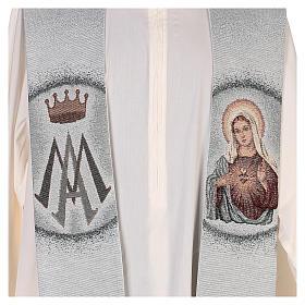 Estola Sagrado Corazón de María y símbolo mariano s2