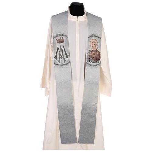 Estola Sagrado Corazón de María y símbolo mariano 1