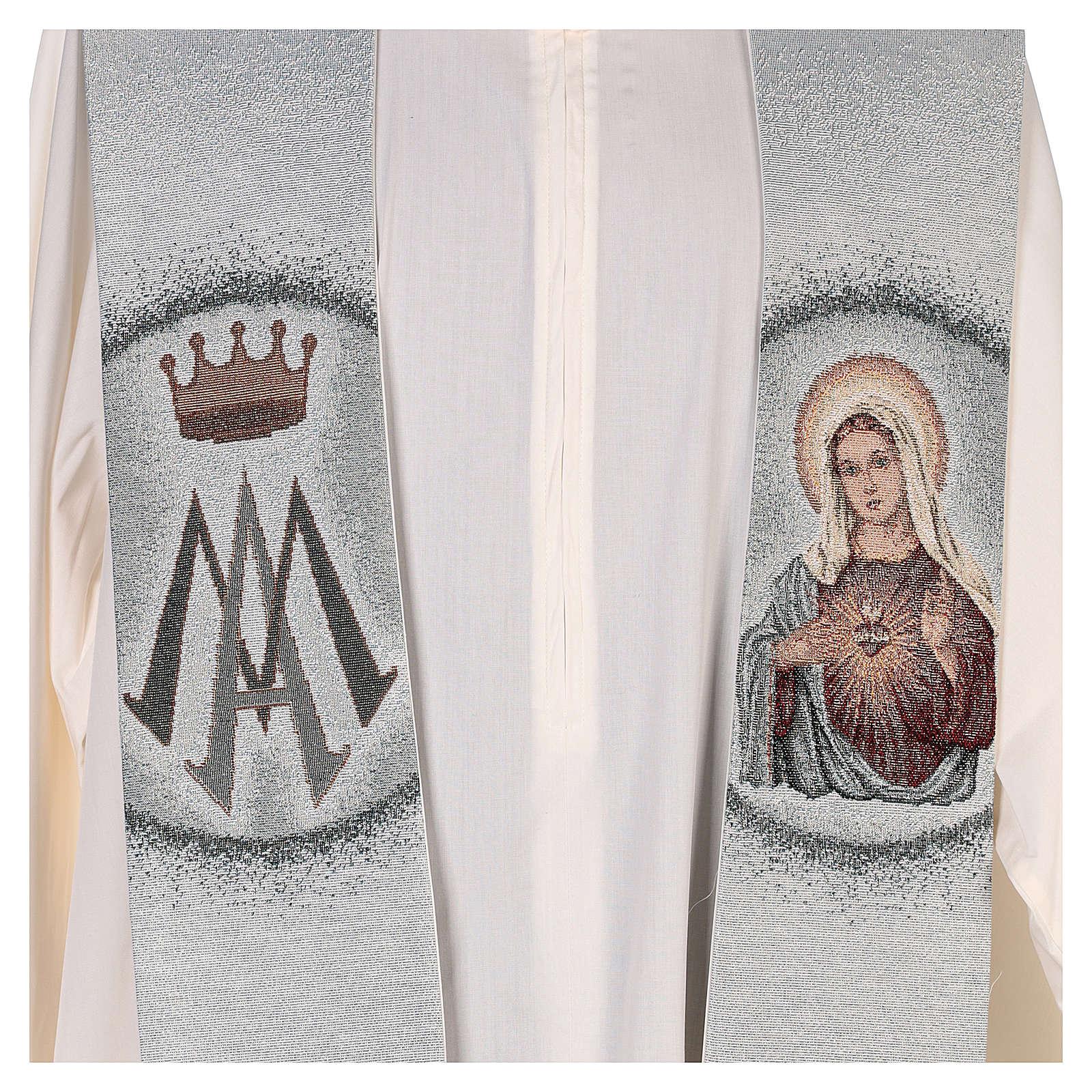 Étole Sacré-Coeur de Marie et symbole marial 4