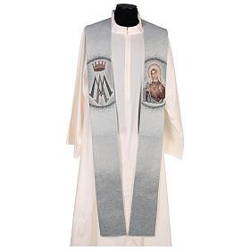 Étole Sacré-Coeur de Marie et symbole marial s1
