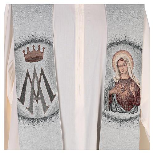 Étole Sacré-Coeur de Marie et symbole marial 2
