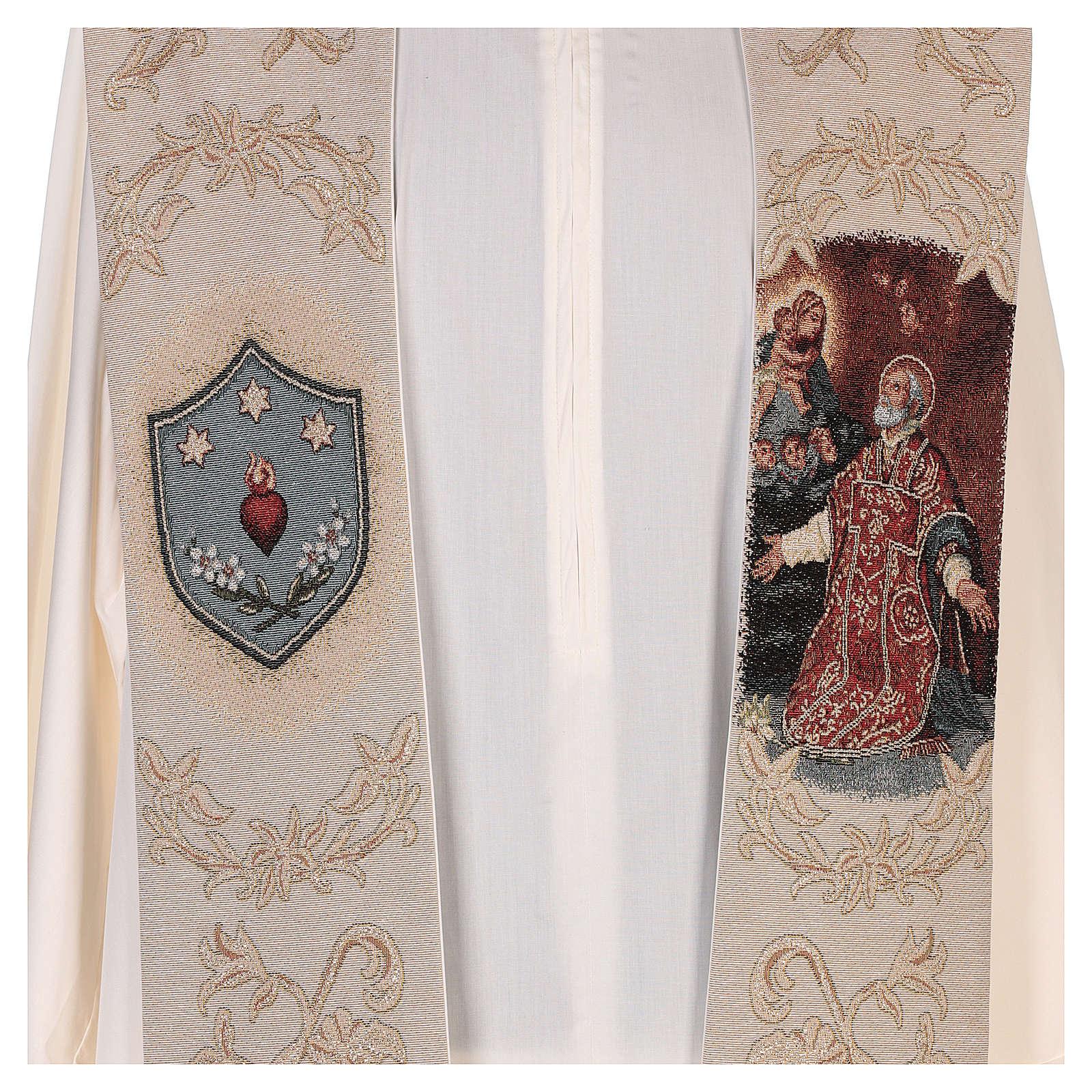 Étole Saint Philippe Néri et décorations en fil doré couleur ivoire 4