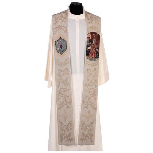 Étole Saint Philippe Néri et décorations en fil doré couleur ivoire 1