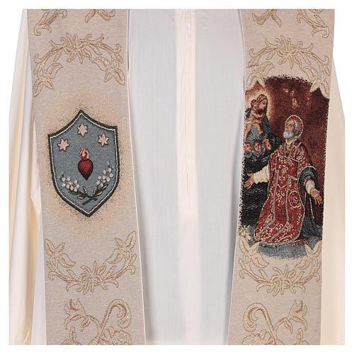 Étole Saint Philippe Néri et décorations en fil doré couleur ivoire 2