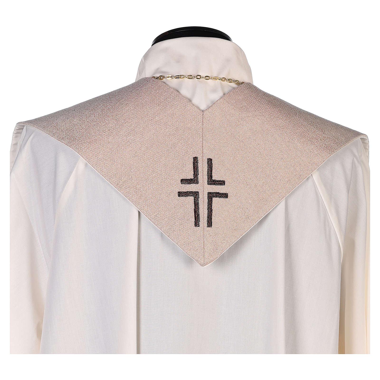 Estola escena Anunciación y símbolo mariano marfil 4
