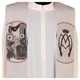 Estola escena Anunciación y símbolo mariano marfil s2