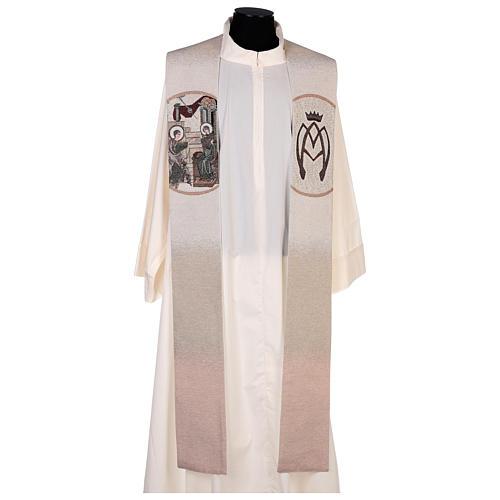 Estola escena Anunciación y símbolo mariano marfil 1