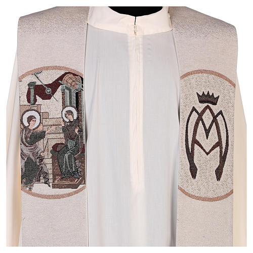 Estola escena Anunciación y símbolo mariano marfil 2