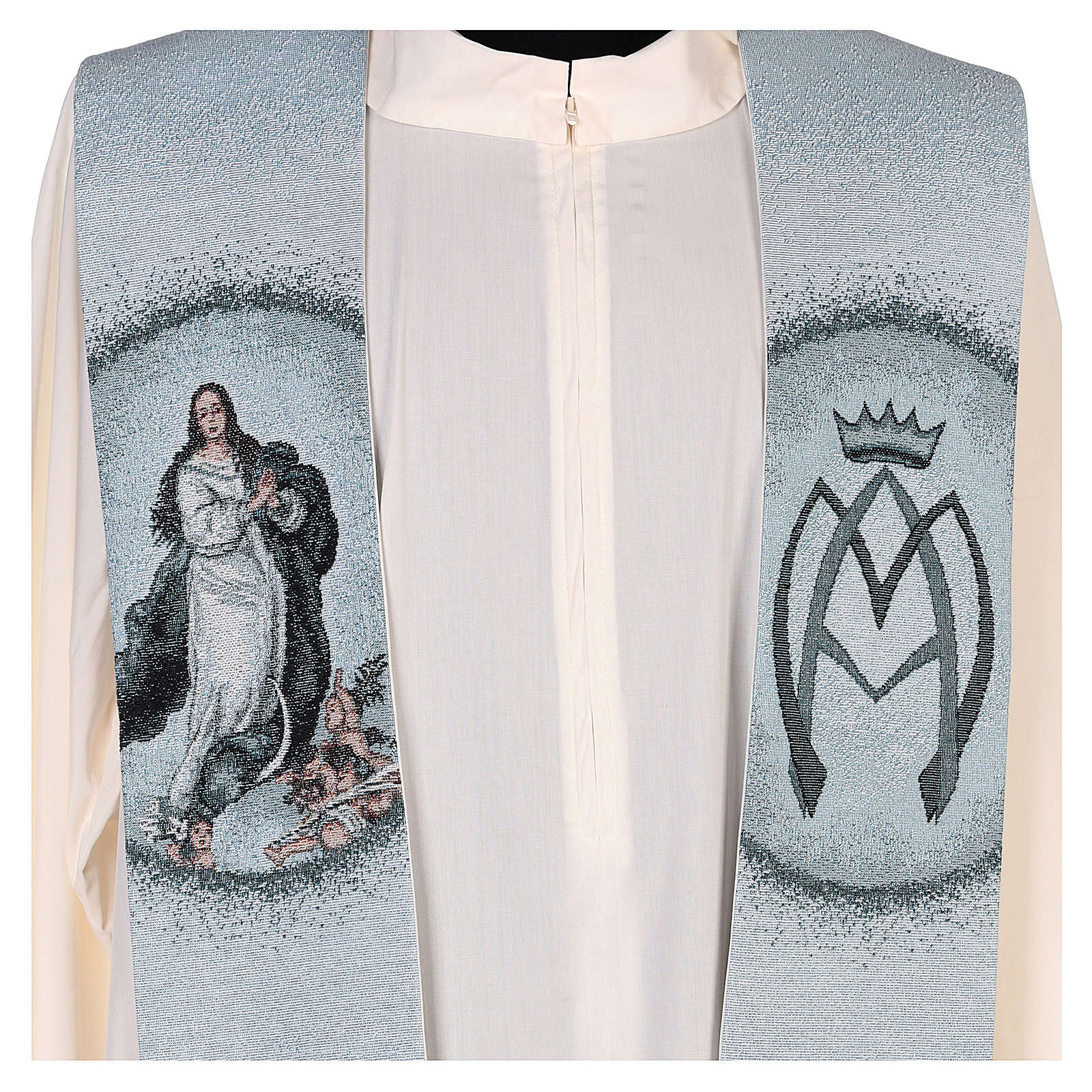 Étole fond bleu Assomption de Marie 4