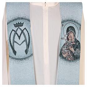 Étole fond bleu Vierge de Tendresse s2