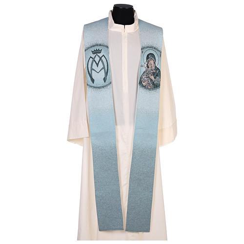 Étole fond bleu Vierge de Tendresse 1