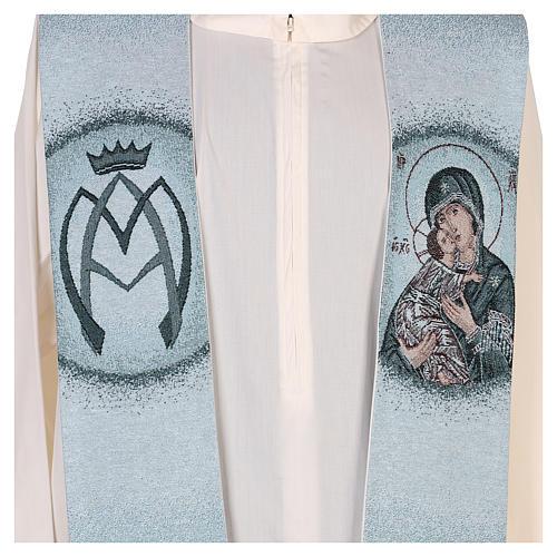Étole fond bleu Vierge de Tendresse 2