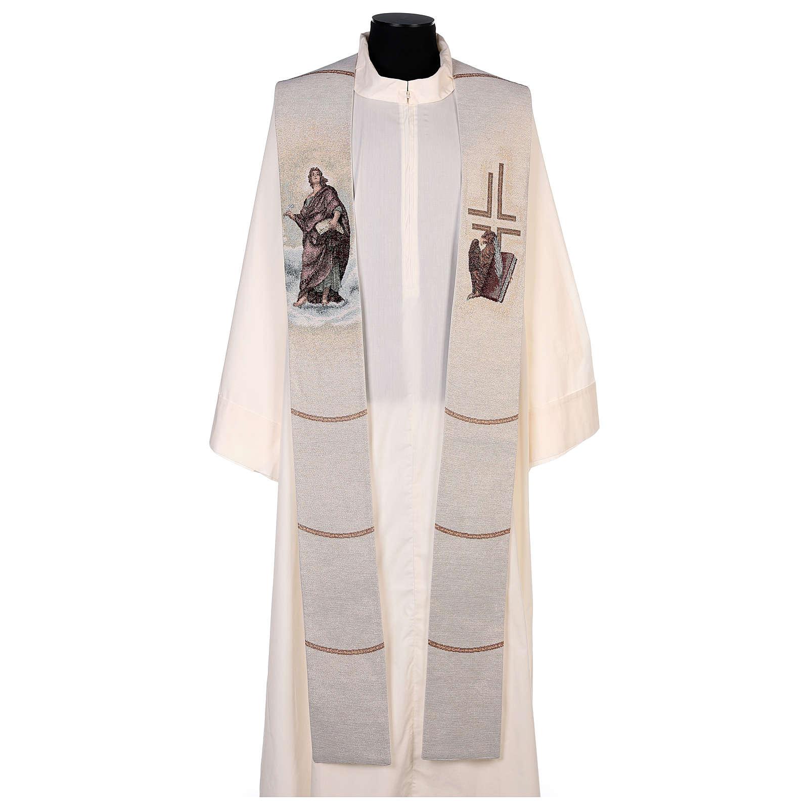 Étole Saint Jean avec plume et aigle couleur ivoire 4