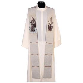 Étole Saint Jean avec plume et aigle couleur ivoire s1