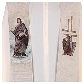Étole Saint Jean avec plume et aigle couleur ivoire s2