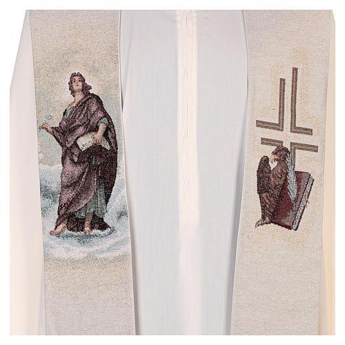 Étole Saint Jean avec plume et aigle couleur ivoire 2