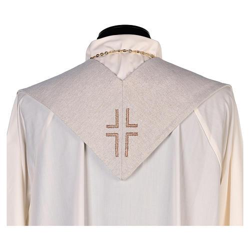 Étole Saint Jean avec plume et aigle couleur ivoire 3