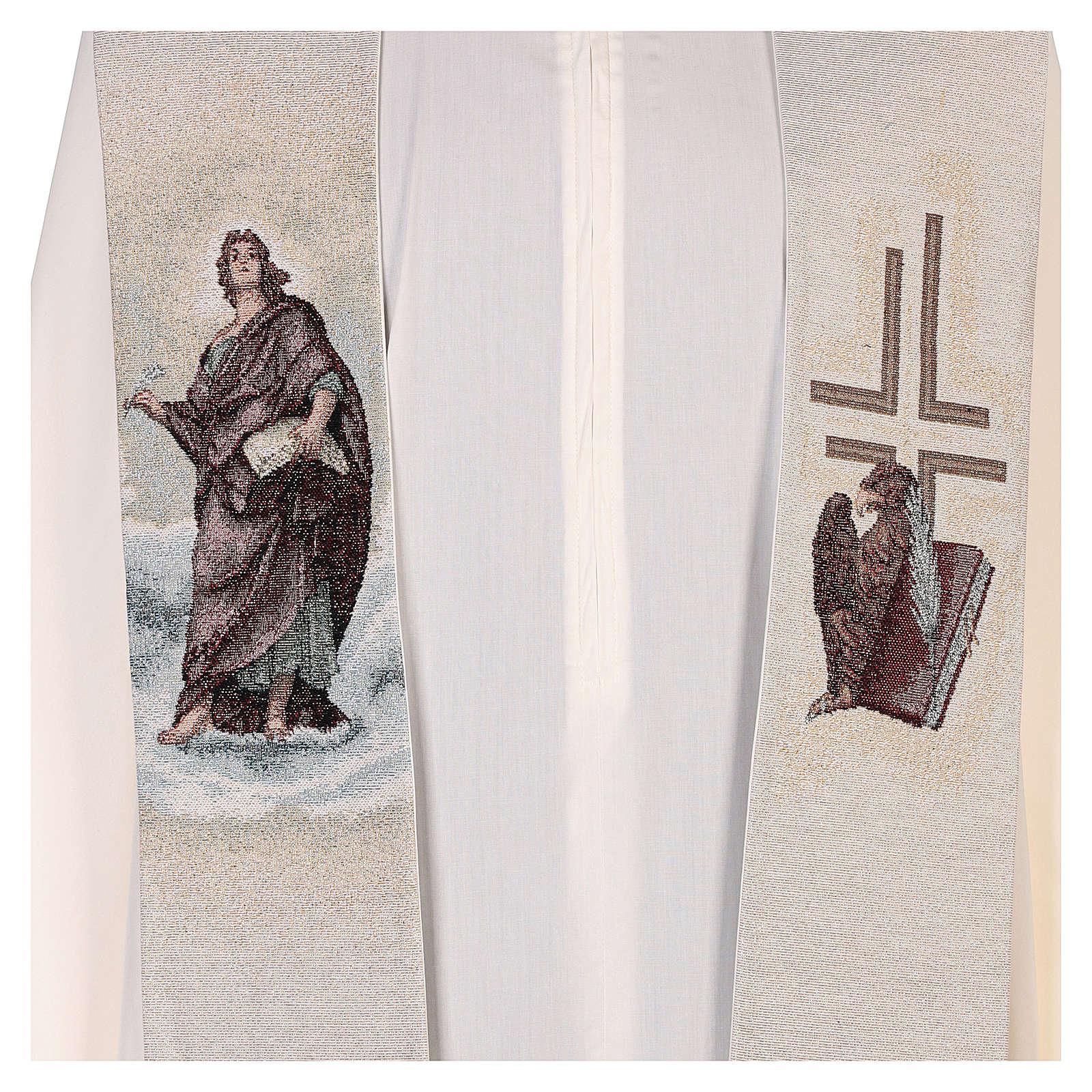 Stola San Giovanni Evangelista con piuma e aquila avorio 4