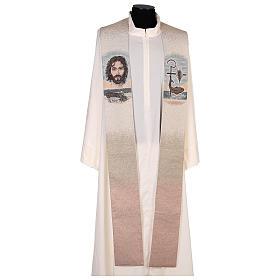 Estola símbolo vocación con rostro de Jesús marfil s1