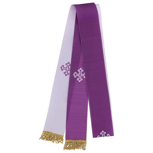 Étole bicolore blanc violet frange dorée 2