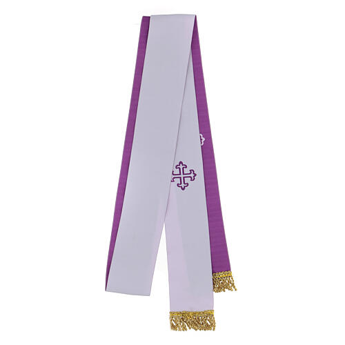 Two color stole white and purple golden fringe 1